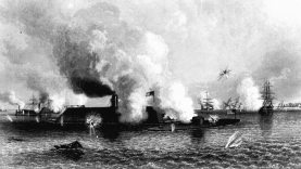 An artist's depiction of the famous battle between the USS Monitor and the CSS Virginia. (National Archives)