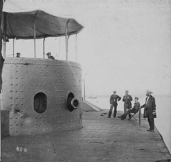 A photograph shows the USS Monitor's officers on the ship's deck. (The Mariners' Museum & Park)