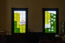 Deborah Strawn's windows for a Unitarian Universalist church in Auburn. (Mark Sandlin/Alabama NewsCenter)