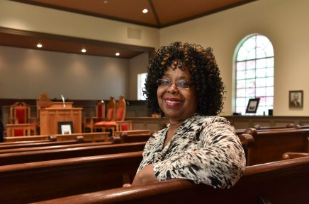 Dr. Martha Bouyer, Executive Director of the Historic Bethel Baptist Church Association, in a pew of the church. (Frank Couch/The Birmingham Times)