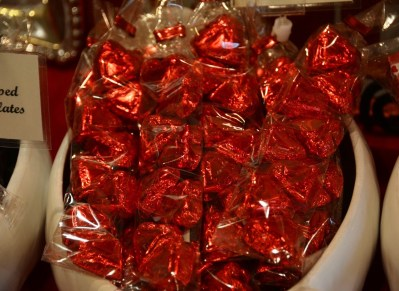 Morgan Price chocolate hearts, wrapped and ready for Valentine's Day. (Karim Shamsi-Basha/Alabama NewsCenter)