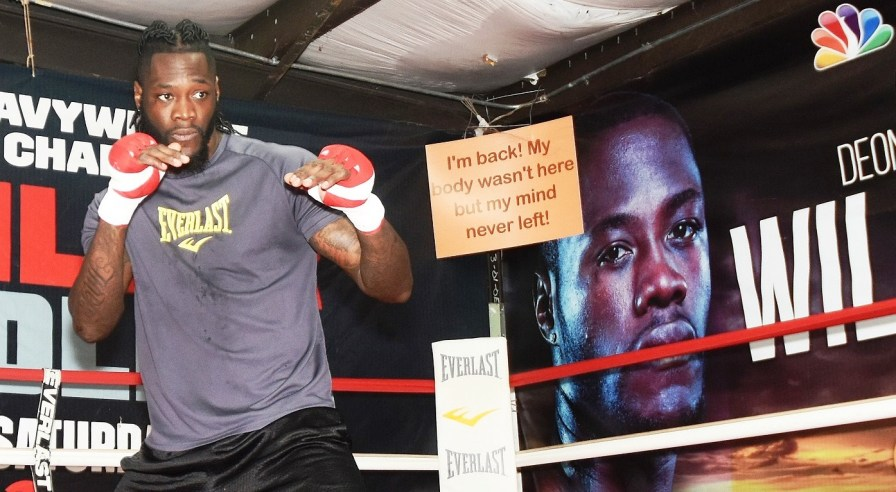 Deontay Wilder works out for the media this week at Skyy Gym in Northport. (Solomon Crenshaw Jr./Alabama NewsCenter)