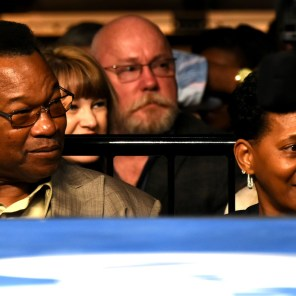 Larry Holmes has a ringside view of the action in Legacy Arena at the Birmingham-Jefferson Convention Complex. He is among three former champions in attendance for boxing action. The fight card is highlighted by the main event, WBC champion Deontay Wilder facing challenger Gerald Washington. (Solomon Crenshaw Jr. / Alabama NewsCenter)