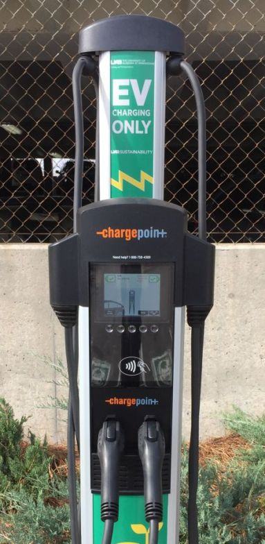 The new charging station at 1400 University Blvd. in Birmingham. (Donna Cope / Alabama NewsCenter)