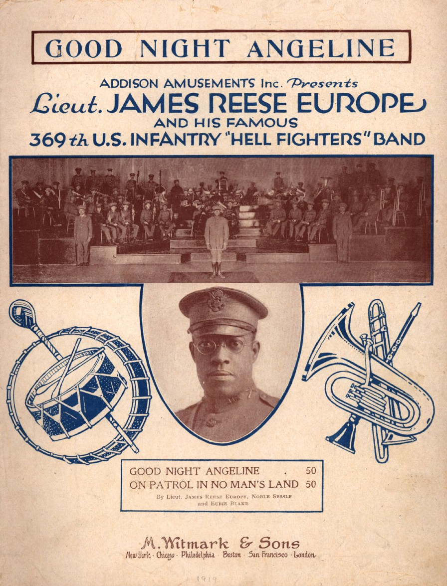 Sheet music by Lt. James Reese Europe, Noble Sessle (sic; Noble Sissle) and Eubie Blake, published by M. Witmark & Sons, New York, 1919. (Image from the Library of Congress American Memory collection, Wikimedia)