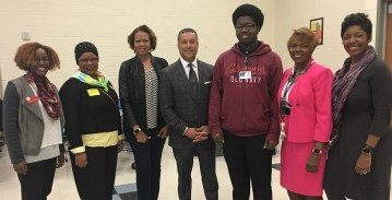 Jackson-Olin student De'Angelo Mitchell, third from right, is a Fusion NextGen finalist. (Brittany Faush-Johnson/Alabama NewsCenter)