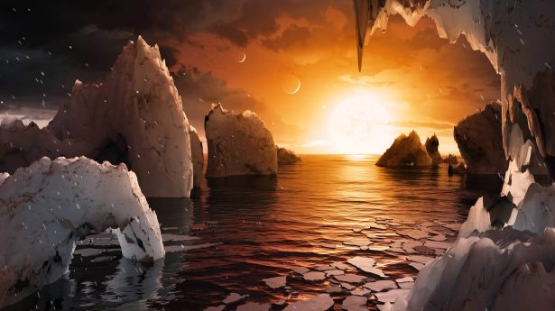 This artist's concept allows us to imagine what it would be like to stand on the surface of the exoplanet TRAPPIST-1f, located in the TRAPPIST-1 system in the constellation Aquarius. (NASA/JPL-Caltech/R. Hurt-IPAC)