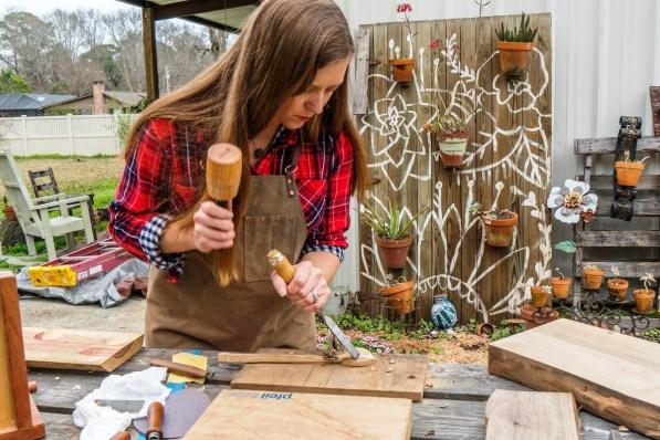 Megan Brantley has mastered the use of carving spoons. (Mark Sandlin / Alabama NewsCenter)