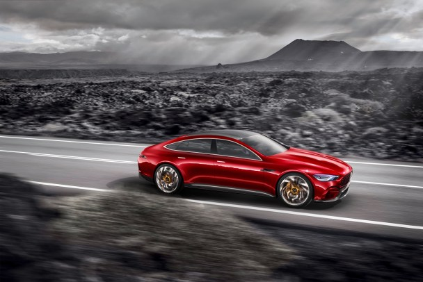 Mercedes-Benz has unveiled a number of electric and hybrid vechiles, like the Mercedes-AMG GT Concept. (Mercedes)