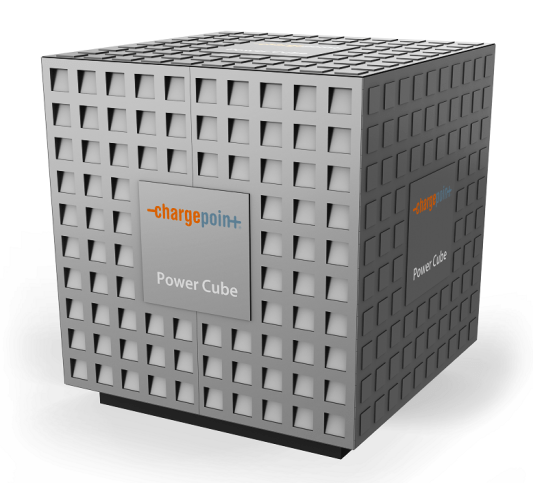 The ChargePoint Express PowerCube. Several major auto companies are investing in ChargePoint to make electric auto charging stations much more common across Europe. (ChargePoint)