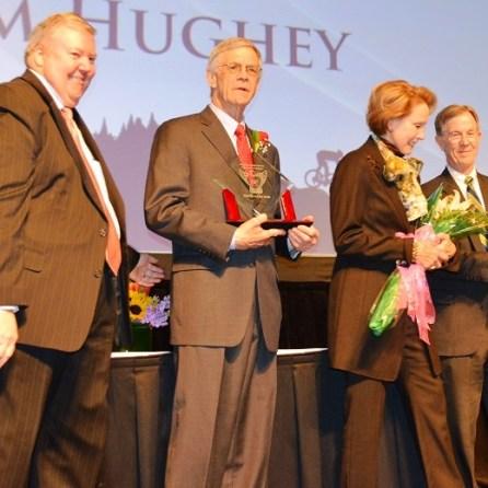 "James F. Hughey Jr., center, received the ""Heart of an Eagle"" award. (Michael Tomberlin / Alabama NewsCenter)"