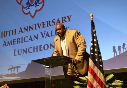 Shaquille O'Neal delivers the keynote address at the 2017 American Values Luncheon of the Greater Alabama Council of the Boy Scouts of America. (Michael Tomberlin / Alabama NewsCenter)