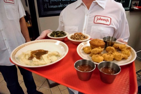 """Johnny's in Homewood is chef Timothy Hontzas' take on a meat-and-three restaurant. Hontzas is a semifinalist for the James Beard Foundation's """"Best Chef: South"""" award. (Brittany Faush-Johnson / Alabama NewsCenter)"""