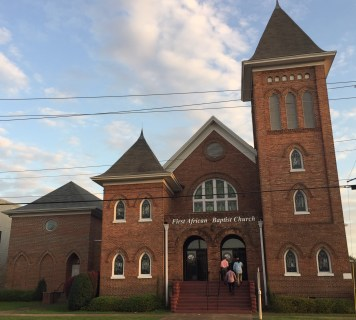 The First African Baptist Church hosted Stevenson's talk. (Donna Cope / Alabama NewsCenter)