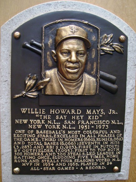 Willie Mays's plaque in the National Baseball Hall of Fame and Museum, 2012. (Beyond My Ken, Wikimedia)