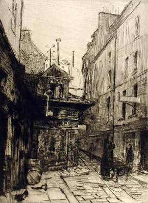 Etching by Clara Weaver Parrish entitled Rue du Sabot, c. 1910-1915. (Montgomery Museum of Fine Arts, Altairisfar, Wikimedia)