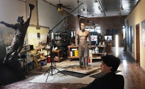 Caleb O'Connor in his Tuscaloosa studio, where he is creating a statue of heavyweight champ Deontay Wilder. (Solomon Crenshaw Jr./Alabama NewsCenter)