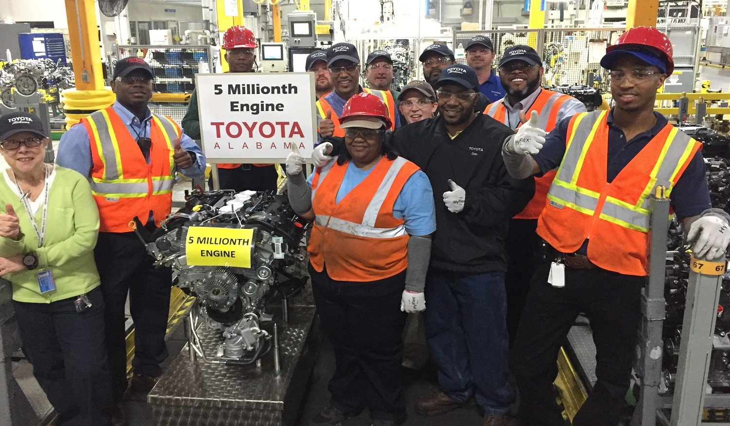 Good Employees At Toyota Motor Manufacturing Alabama In Huntsville Celebrate The  5 Millionth Engine Produced At The