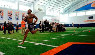 Joshua Holsey works out during Auburn Pro Day. (Dakota Sumpter/Auburn Athletics)
