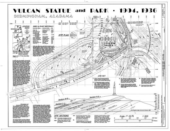 Site Plan for Vulcan Statue and Park, 1994. (Richard K. Anderson Jr./Library of Congress Prints and Photographs Division)