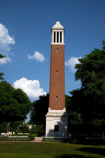 The Denny Chimes tower was named in honor of former University president George H. Denny, who served from 1912 to 1936, and again in 1941. Today, the tower is often recognized as the most visible landmark of the campus. (The George F. Landegger Collection of Alabama Photographs in Carol M. Highsmith's America, Library of Congress, Prints and Photographs Division)