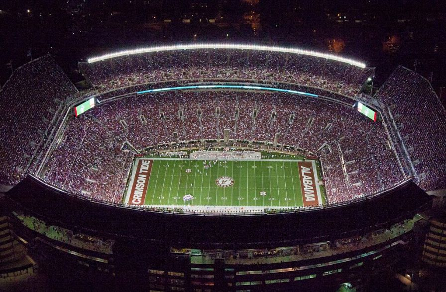 Aerial view of the University of Alabama football stadium. (The George F. Landegger Collection of Alabama Photographs in Carol M. Highsmith's America, Library of Congress, Prints and Photographs Division)