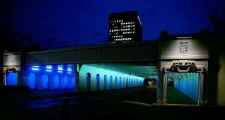 The 'Birmingham Lights' four tunnels at 14th, 18th, 20th and 22nd streets are lit in blue and green. (Ann Rayburn)