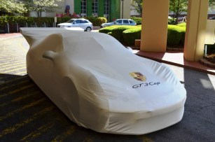 The Racing for Children's Indy Car under wraps before its unveiling. (Michael Tomberlin/Alabama NewsCenter)