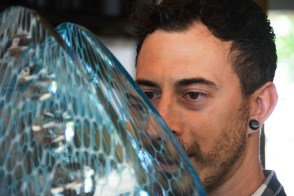 Mark Leputa has a passion for glass sculpture that has taken him all over the world, but he creates his works in a Fort Payne studio. (Karim Shamsi-Basha/Alabama NewsCenter)