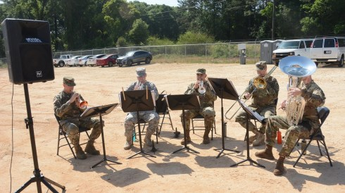 The band plays for a ceremony marking the unveiling of a solar project that will benefit the Army as well as Alabama Power customers. (Karim Shamsi-Basha/Alabama NewsCenter)