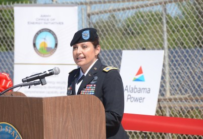 Officials with the U.S. Army and Alabama Power celebrated the opening of large solar projects at the Anniston Army Depot and Fort Rucker last week. (Karim Shamsi-Basha/Alabama NewsCenter)