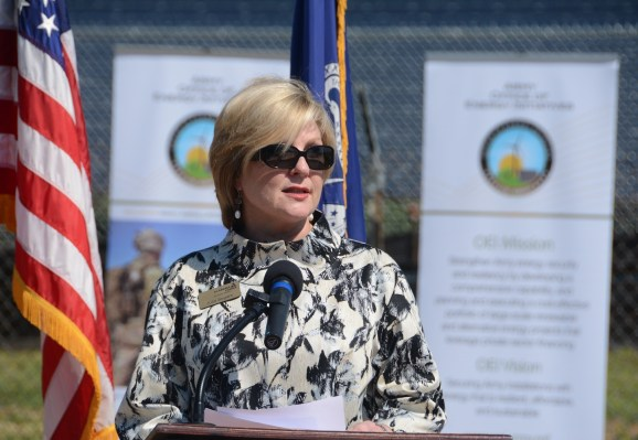 Julia Segars, vice president of Alabama Power, talks about the company's solar power collaboration with the U.S. Army. (Karim Shamsi-Basha/Alabama NewsCenter)