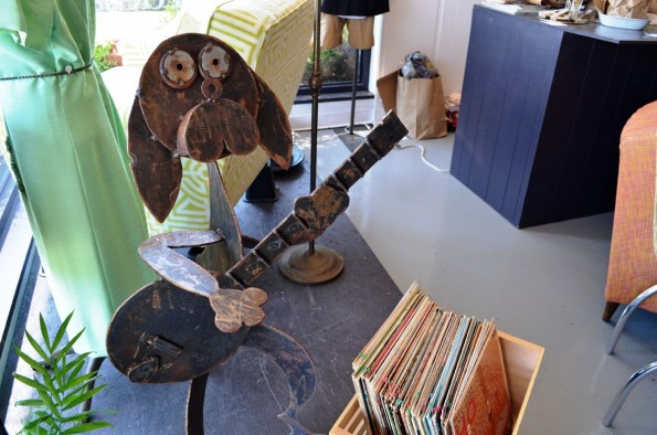 Local art and vintage records are among the items you can find at 5th Street Vintage Market. (Anne Kristoff / Alabama NewsCenter)