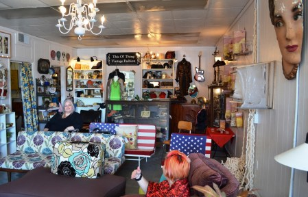 Lori Watts and Jamie Cicatiello chat in their space in Tuscaloosa. (Anne Kristoff / Alabama NewsCenter)