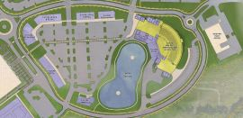 A 4,000-seat amphitheater is part of future development plans at CrossPlex Village. (Davis Architects)