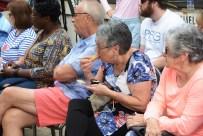 A large crowd watched Fuller Goldsmith cook at the Market at Pepper Place. (Karim Shamsi-Basha / Alabama NewsCenter)