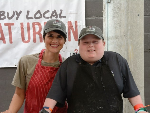 """Andrea Snyder of Urban Cookhouse and Fuller Goldsmith, """"Chopped Junior""""winner, appeared together at the Market at Pepper Place. (Karim Shamsi-Basha / Alabama NewsCenter)"""