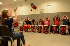 Lauren Nowak loves her work with Homewood Middle's Synergy drum circle, and it shows. (Karim Shamsi-Basha/Alabama NewsCenter)