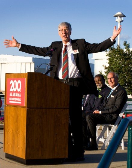 Edwin C. Bridges, director emeritus of the Alabama Department of Archives and History, speaks to the audience at the Alabama Bicentennial launch. (Keith Necaise)