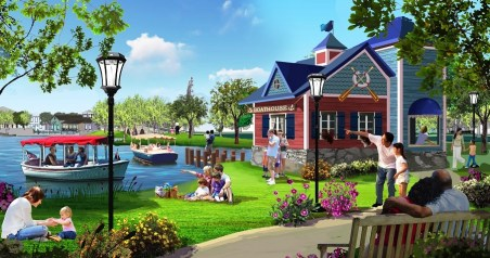 OWA's 14-acre lake includes boat rentals, fountain shows, and a 400-seat amphitheater on a 1.5-acre island. (OWA)