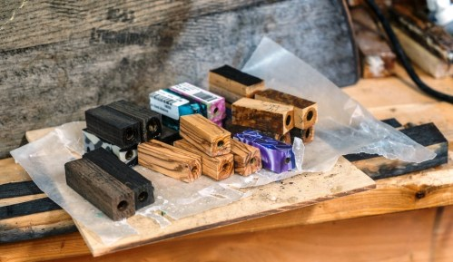 The wood Joel Lockridge uses in his pens comes from diverse sources such as bourbon barrels, family heirlooms and English peat bog oaks thousands of years old. (Mark Sandlin/Alabama NewsCenter)