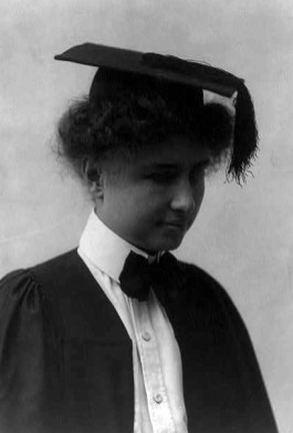 Helen Keller wearing a graduation cap and gown, c. 1904. (Library of Congress Prints and Photographs Division)