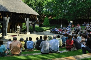 "The producing artistic director of the Alabama Shakespeare Festival, Geoffrey Sherman, reading Shakespeare's Sonnet 71, ""No longer mourn for me when I am dead,"" on the 447th anniversary of Shakespeare's birth. The event was held in the Shakespeare Garden at the ASF. (Ralph Daily, Flickr)"
