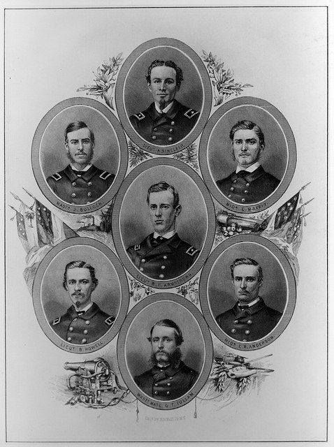 Confederate States Navy officers who served with Raphael Semmes. Line engraving by H.B. Hall Jr., New York, featuring portraits of seven officers who served with Semmes in CSS Alabama and were present during her engagement with USS Kearsarge. (National Museum of the U.S. Navy)