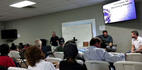 Crosby delivers a message at Recovery Church in Bessemer. (Contributed)