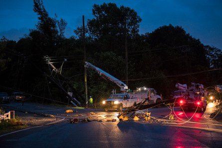 An Alabama Power crew works to restore significant damage in Fairfield following tornadoes and storms on June 22, 2017. (Phil Free / Alabama NewsCenter)