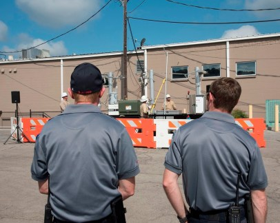 First responders watch a Safe-T-Zone presentation in Leeds by Alabama Power employees. The program is designed to give public safety and street-and-sanitation employees the information they need when answering calls around power lines. (Brittany Faush-Johnson/Alabama NewsCenter)
