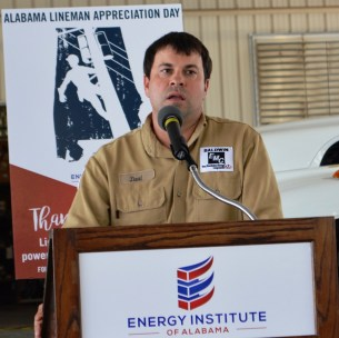 Baldwin EMC lineman David Hammock speaks at Alabama Lineman Appreciation Day. (contributed)