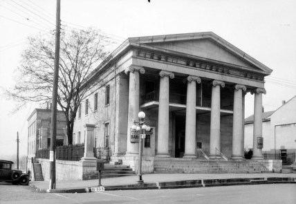 The First National Bank building in Huntsville, March 17, 1934. (Photograph by W.N. Manning for the Historic American Building Survey, Library of Congress Prints and Photographs Division)