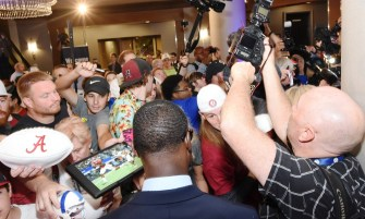 Calvin Ridley faces Crimson Tide fans at SEC Media Day. (Solomon Crenshaw Jr. / Alabama NewsCenter)
